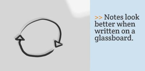 Notes look better when written on a glassboard.